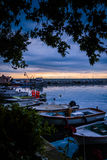 Calm Harbour Before The Storm. Calm harbor during the evening before wind, rain and thundershower located in Cinarcik town of country Turkey. Cinarcik is a small Stock Images