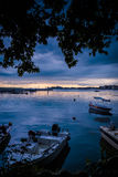 Calm Harbour Before The Storm. Calm harbor during the evening before wind, rain and thundershower located in Cinarcik town of country Turkey. Cinarcik is a small Stock Photography