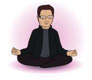 Calm  indian man sitting in lotus pose on white Royalty Free Stock Image