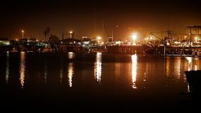 Calm Industrial Harbor At Night stock footage
