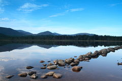 Calm lake. Loch Morlich - located in the Cairngorm National Park in the Highlands of Scotland Royalty Free Stock Image