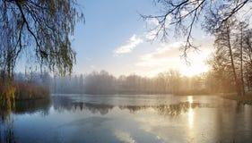Calm lake in the amount Stock Photos