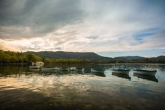 Calm lake in Banyoles Stock Photos