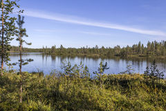 Calm lake. In Finnish Lapland stock image