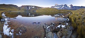 Calm lake in foot of snow-covered mountain at sunrise Stock Image