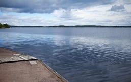 Calm lake harbor Stock Photo