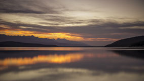 Calm Lake. Kinbasket Lake, Canoe Reach, near Valemount, British Columbia in the Robson Valley region of North Thompson Stock Images