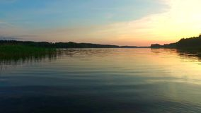 Calm lake at sunset in the summer stock video
