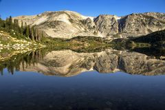 Calm Libby Lake Sunrise in the Snowy Range Mountains of Wyoming stock photo