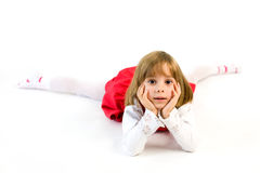 Calm little girl laying Stock Photo