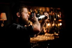 Male bartender uses shaker to make an alcohol cocktail. Calm male bartender using stainless steel shaker to make an alcohol cocktail stock photo