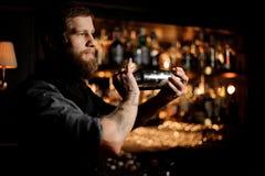 Male bartender using shaker to prepare alcohol cocktail. Calm male bartender using stainless steel shaker to prepare alcohol cocktail stock photography