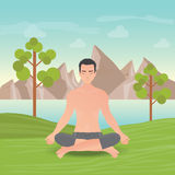 Calm man is doing yoga and meditation. Stock Photo