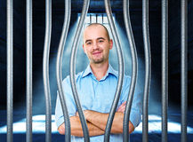 Calm man in prison Royalty Free Stock Image