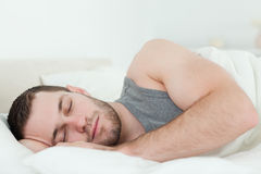 Calm man sleeping Royalty Free Stock Images