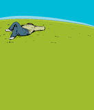 Calm Man Sleeping on Hill Royalty Free Stock Photography