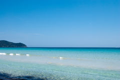 Calm Mediterranean Sea under solid blue sky Royalty Free Stock Image