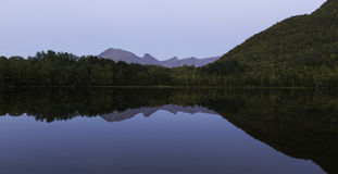 Calm mirror lake. Reflection of forest and mountains Royalty Free Stock Photo