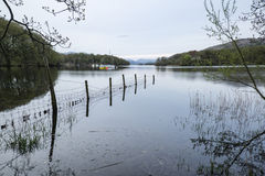 Calm moody evening landscape over Coniston Water in English Lake Royalty Free Stock Photos