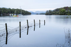 Calm moody evening landscape over Coniston Water in English Lake Royalty Free Stock Photo