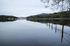 Calm moody evening landscape over Coniston Water in English Lake Royalty Free Stock Photography