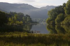 Calm morning on Derwent Water near Keswick, Lake District, Cumbria, England royalty free stock photo