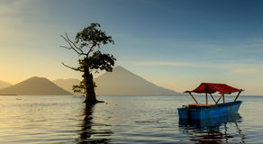 Calm Morning at Indonesia Beach / Sea. Serenity and peaceful Morning at Maitara, Ternate, Moluccas Indonesia Stock Photos