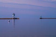Calm morning waters, grand marais lighthouse Stock Photos