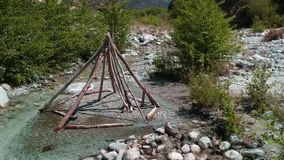 The calm of a mountain creek stock video