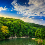 Calm mountain river on a clear summer morning Stock Image