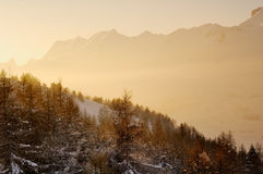 Calm Mountain Scene in the Afternoon. A picture of a mountain landscape in the winter in Devoluy, France Royalty Free Stock Photo