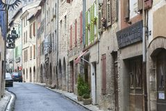 Calm narrow street of the medieval town of Villefranche de Conflent in France. Royalty Free Stock Photos