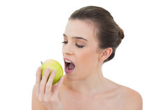 Calm natural brown haired model biting an apple Royalty Free Stock Photos