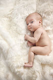 Calm newborn child laying on the soft blanket Royalty Free Stock Images