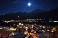 Calm night. A quiet winter night lays over an austrian city Royalty Free Stock Photography