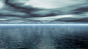 Calm ocean. An illustration of a calm ocean and stormy clouds Stock Photo