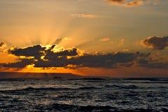 Calm ocean and beach on tropical sunrise Royalty Free Stock Photos