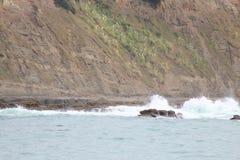 Crashing Waves on Rocks Royalty Free Stock Photo