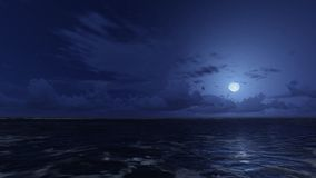Calm ocean under starry night sky. Calm ocean waves under starry night sky and a moonlight on the ocean surface. Realistic 3D illustration was done from my own stock illustration