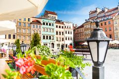 Calm old town square in Warsaw Royalty Free Stock Photography