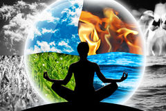 Calm Optimism Zen. Female yoga figure in a transparent sphere, composed of four natural elements water, fire, earth, air on a background made of black and white stock photos