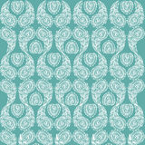 Calm ornament of stylized ornate white feathers on a turquoise background. Texture for textiles and Wallpapers. Сuc Stock Image
