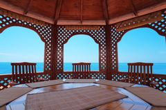 Calm pavilion near sea Stock Photos