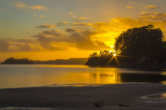 Sunrise at Scandrett Beach Auckland New Zealand. Calm and Peaceful During Low Tide Stock Image