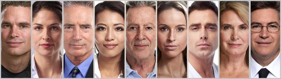 Calm people faces. Set of calm people faces stock photos