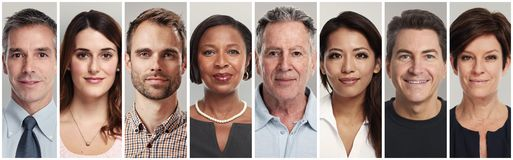 Calm people faces stock images