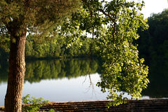 Calm reflection. Lake on a clear calm day Stock Photo