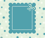 Calm retro card with flowers and butterfly. And place for text Royalty Free Stock Photo