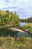 Calm river in autumn in north Idaho. stock photography