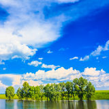 Calm River. Clouds Reflection On Lake Stock Image